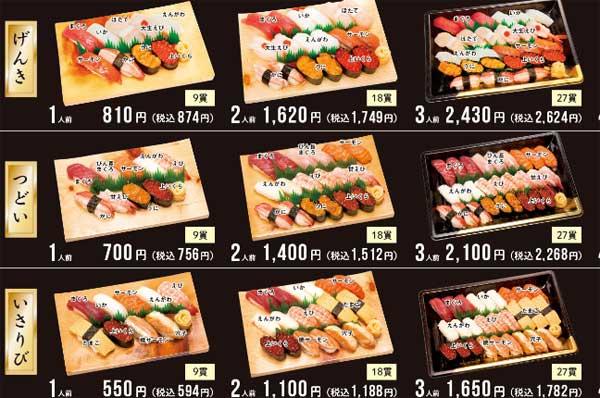 元気寿司のテイクアウトメニュー